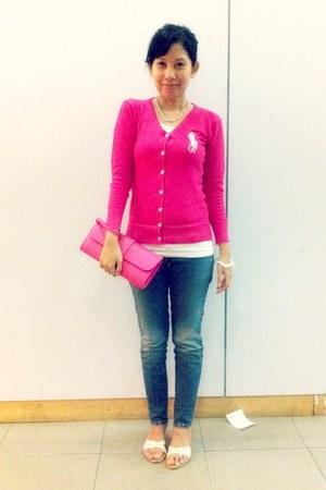 hot pink Ralph Lauren cardigan - white random brand t-shirt