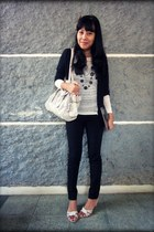 cream knit knitted Mango sweater - ivory Guess bag - black sailor Zara pants