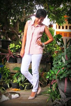 white random brand jeans - light pink lasercut thrifted vintage blouse