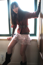 Promod jacket - belt - bay skirt - A & F top - accessories