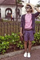 blue LAWMAN shorts - brown belt - red bonita shirt - purple cardigan - brown VAN