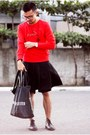 Black-rajo-milanos-shoes-red-puma-sweater-black-ann-demeulemeester-bag