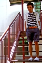 Bossini sweater - Uniqlo shirt - Diesel belt - YVES shorts