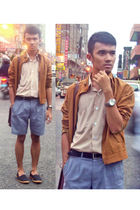 gray LAWMAN shorts - black Roberstons shoes - beige Yves Identify shirt - brown