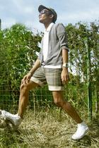 rRALPH LAUREN shirt - sweater - isis shorts - Converse shoes - von dutch hat