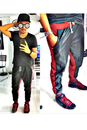 brick red Veranda Project pants - blue nike blazer nike shoes - black ny hat
