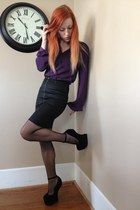 black heelless makemechic shoes - black H&M skirt - purple vera wang blouse