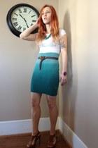 turquoise blue ombre H&M skirt - camel Pierre Dumas pumps