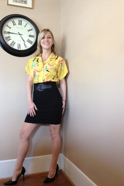 yellow thrifted vintage blouse - black Body Central skirt