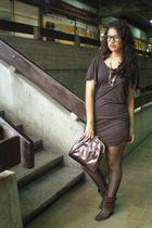 brown dress - black tights - brown shoes - brown purse - brown accessories