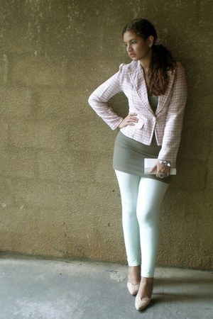 light pink tweed blazer - lime green leggings - olive green top