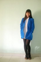 blue blazer - white shirt - black stockings - black doc martens boots