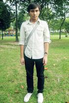 Topman shirt - Black or Love pants - Topman purse - Converse shoes