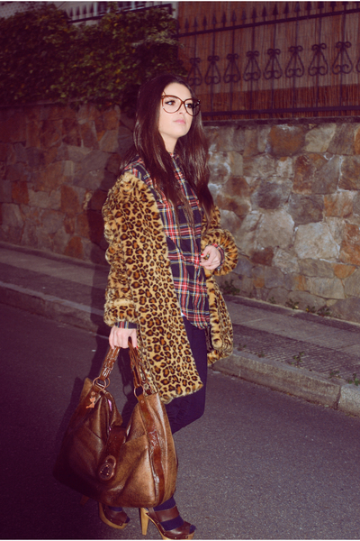 brown lollipops paris bag - brown Bershka shoes - brown Mango coat