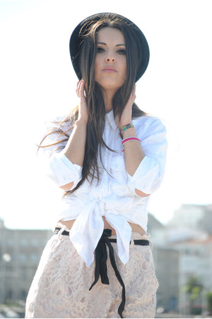 light pink BLANCO skirt - black H&M hat - cream Zara shirt