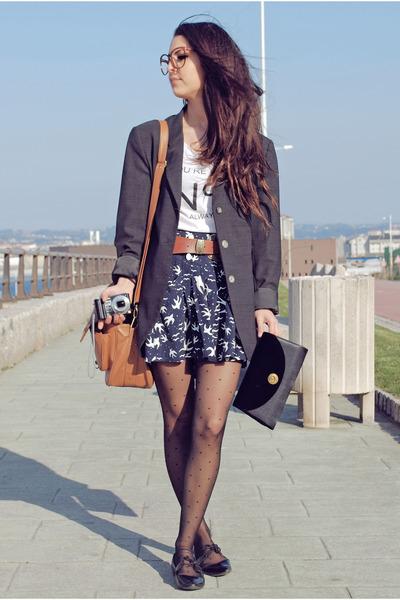 black vintage bag - gray Zara blazer - blue BLANCO skirt
