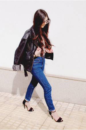 Zara sandals - maroon vintage jacket - asos sunglasses