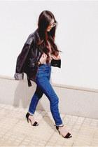 Zara sandals - maroon vintage jacket - asos sunglasses