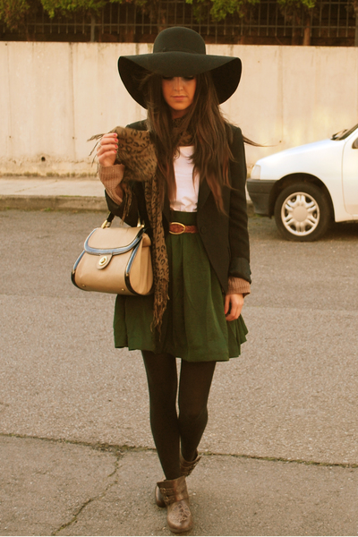 green H&M skirt - brown BSK boots - black Zara hat