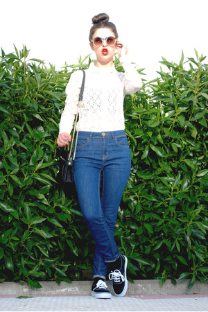 bubble gum Zara shirt - Zara bag - asos sunglasses - Vans sneakers