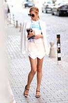 white Choies blazer - WOAKAO bag - white Choies shorts - black Choies sunglasses
