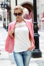 Salmon-blazer-sky-blue-jeans-black-sunglasses-white-sheinside-blouse