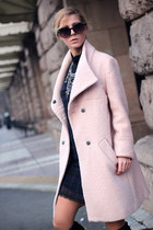 light pink Choies coat - black Gido boots - navy dress