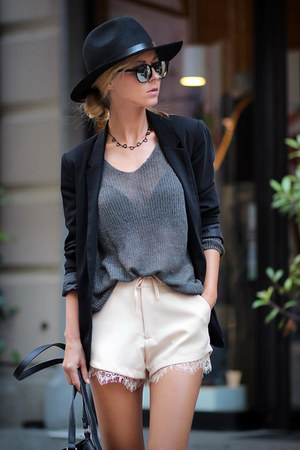 black blazer - neutral lace shorts Sheinside shorts