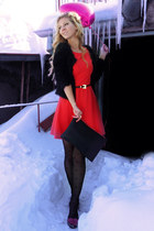 red dress - black tights - black bag - black cardigan - hot pink flats