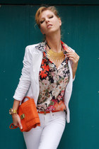 white Bershka jeans - white blazer - Zara shirt - carrot orange bag