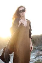 brown dress - dark gray cardigan - black ring