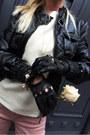 Black-boots-bubble-gum-jeans-black-jacket-ivory-sweater-black-gloves