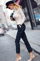 navy Ecugo pants - black bag - neutral blouse - neutral PERSUNMALL heels