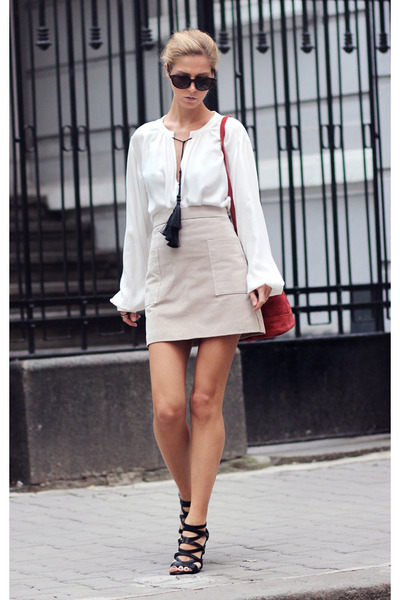 beige Mango skirt - brick red suede mini bag H&M bag