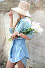 Eggshell-h-m-hat-light-blue-denim-shirt-marks-spencer-shirt