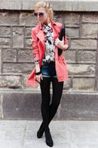 salmon coat - ivory shirt - black tights - black bag - navy shorts - black pumps