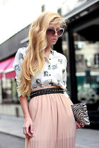 white tiger pattern Choies shirt - white bag - black belt - light pink skirt
