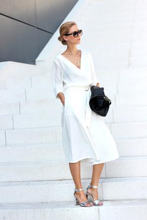 white blouse - black bag - white shein pants - silver sandals