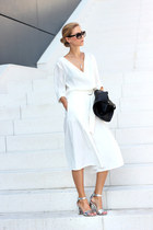 white blouse - black bag - white shein pants - silver sandals