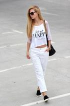 white jeans - black bag - black Choies sneakers