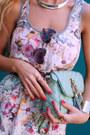 White-dress-aquamarine-bag-light-purple-sunglasses-gold-flats