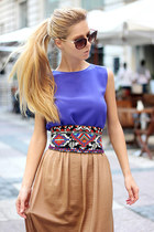 white belt - brown sunglasses - camel skirt - black heels - blue Choies top