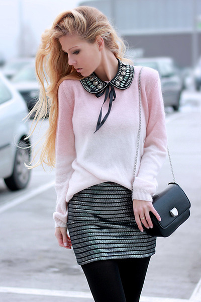 skirt - sweater - bag - necklace - heels