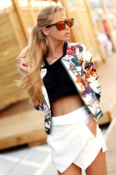 white Sheinside jacket - white skort Choies shorts - black crop top top