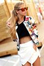 White-sheinside-jacket-white-skort-choies-shorts-black-crop-top-top