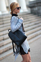 black WOAKAO bag - crimson shoes - heather gray WOAKAO sweater - black skirt