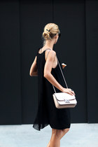 black dress - neutral Parfois bag - white Adidas sneakers - black 27JEWELRY ring