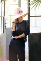 eggshell H&M hat - pink H&M scarf - navy H&M blouse - beige H&M flats