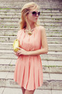 Peach-queens-wardrobe-dress-light-yellow-bag-tan-belt-gold-flats