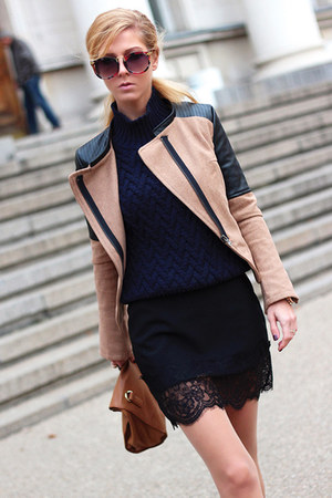 black flats - camel Sheinside jacket - navy sweater - brown bag
